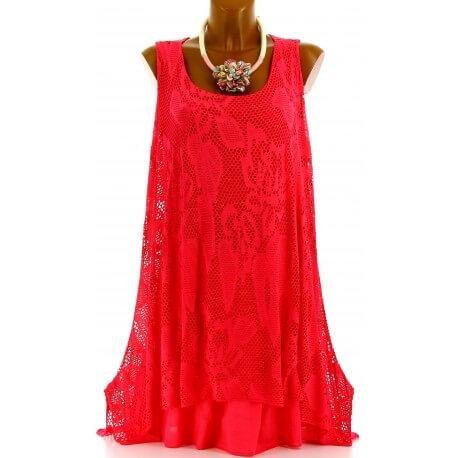 Tunique longue dentelle été robe bohème corail ARMANDA