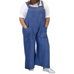Combinaison salopette femme lin grande taille bleu jean DIMITRI
