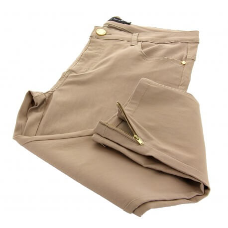 Jean pantalon femme grande taille slim stretch beige NIKI
