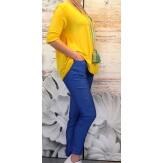 Jean pantalon femme grande taille slim stretch bleu CELIA