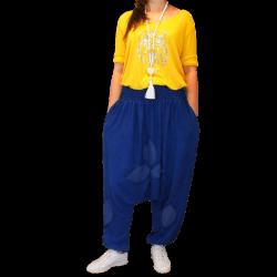 Pantalon sarouel  jean yoga ample brodé grande taille NEPTUNE