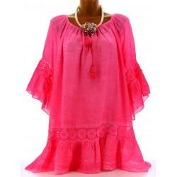 Tunique blouse dentelle bohème grande taille fushia ANDREA