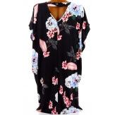 Robe tunique trapèze bohème grande taille noir MONICA