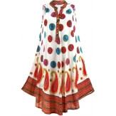 Robe été asymétrique bohème grande taille blanc fushia BELINDA