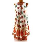 Robe été asymétrique bohème grande taille blanc rouge BELINDA