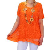 Tunique + top dentelle dos papillon bohème grande taille orange ELISA