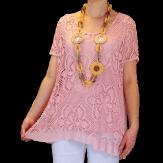 Tunique + top dentelle dos papillon bohème grande taille rose ELISA