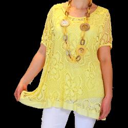 Tunique + top dentelle dos papillon bohème grande taille jaune ELISA