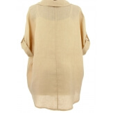 Chemise femme lin été tunique bohème grande taille beige PERIGORD