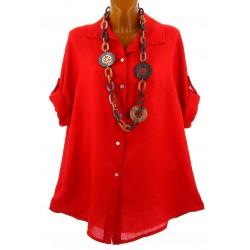 Chemise femme lin été tunique bohème grande taille rouge PERIGORD