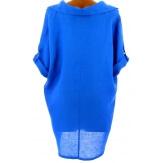 Chemise femme lin été tunique bohème grande taille bleu royal  PERIGORD
