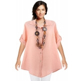 Chemise femme lin été tunique bohème grande taille rose PERIGORD