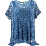 Tunique + top dentelle dos papillon bohème grande taille bleu jean ELISA