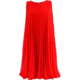 Robe chic plissée mousseline soirée été cocktail rouge  ANTIBES