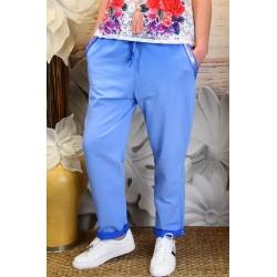 Pantalon jogg femme loose taille haute bleu mer CECILE