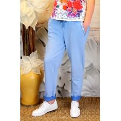 Pantalon jogg femme loose taille haute bleu jean CECILE