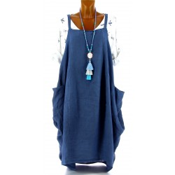 Robe longue grande taille lin bohème bleu jean NATACHA