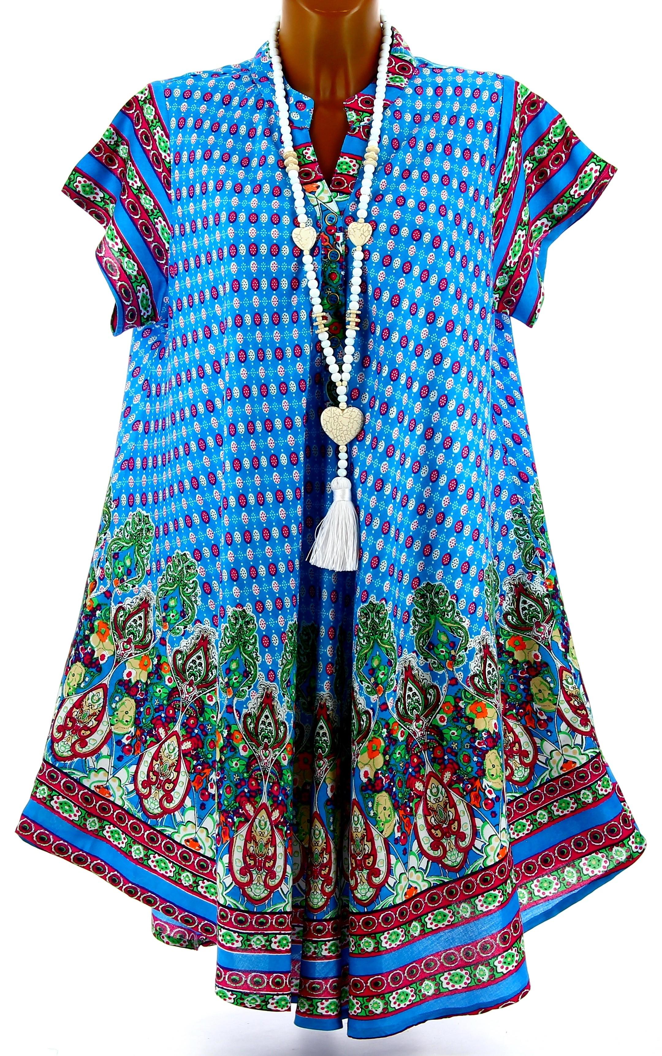 robe t asym trique boh me grande taille bleu turquoise leyla. Black Bedroom Furniture Sets. Home Design Ideas