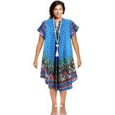 Robe été asymétrique bohème grande taille bleu turquoise LEYLA