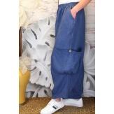 Pantalon femme lin grande taille ample bleu jean ANTHOS