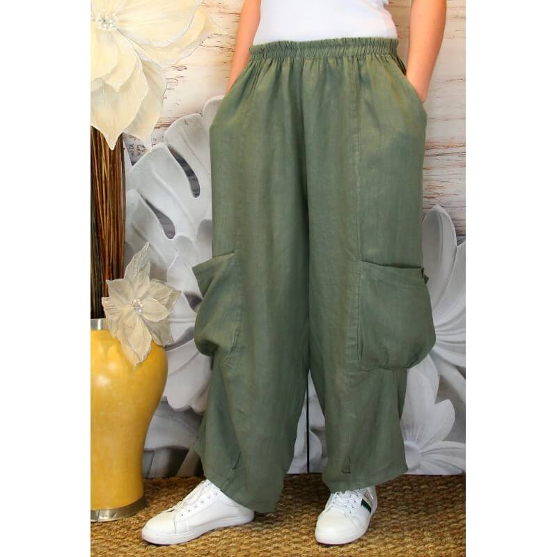 pantalon femme lin grande taille ample kaki anthos. Black Bedroom Furniture Sets. Home Design Ideas