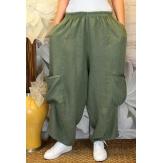 Pantalon femme lin grande taille ample kaki ANTHOS