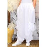Pantalon femme lin grande taille ample blanc ANTHOS