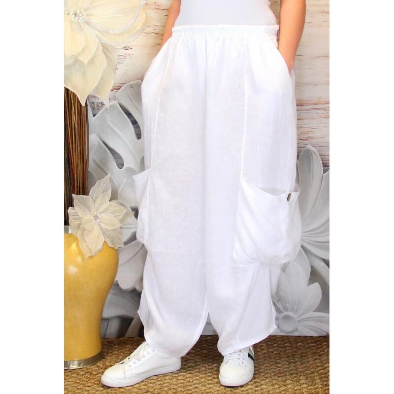pantalon femme lin grande taille ample blanc anthos. Black Bedroom Furniture Sets. Home Design Ideas
