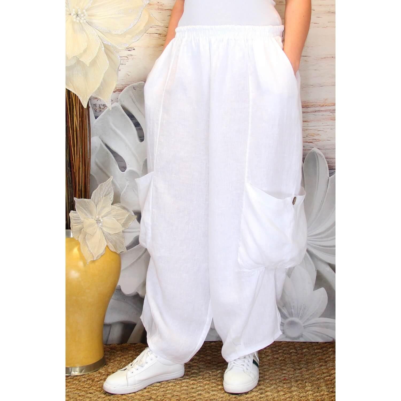 d02e7adb5ee6c Pantalon femme lin grande taille ample blanc ANTHOS