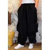 Pantalon femme lin grande taille ample noir ANTHOS