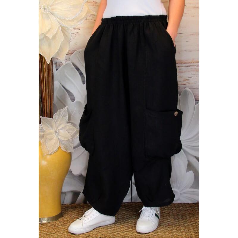 pantalon femme lin grande taille ample noir anthos. Black Bedroom Furniture Sets. Home Design Ideas