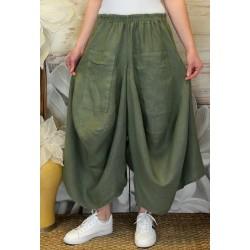 Jupe pantalon femme lin grande taille bohème kaki MARCO