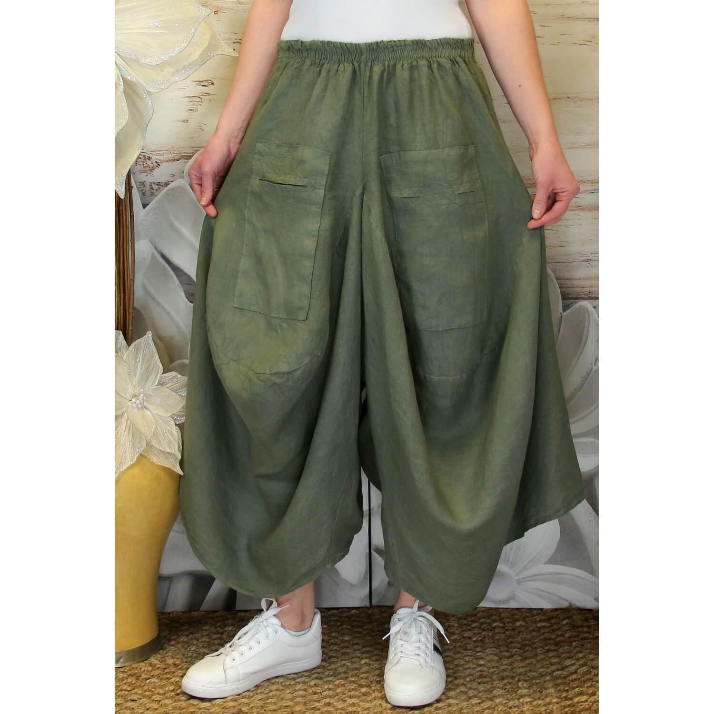 jupe pantalon femme lin grande taille boh me kaki marco. Black Bedroom Furniture Sets. Home Design Ideas