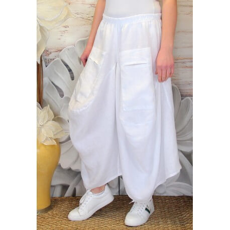 Jupe pantalon femme lin grande taille bohème blanc MARCO-Jupe femme-CHARLESELIE94