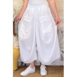 Jupe pantalon femme lin grande taille bohème blanc MARCO