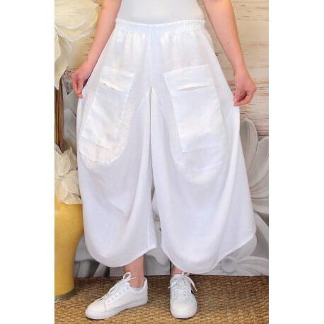 jupe pantalon femme lin grande taille boh me blanc marco. Black Bedroom Furniture Sets. Home Design Ideas