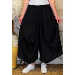 Jupe pantalon femme lin grande taille bohème noir MARCO