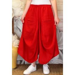 Jupe pantalon femme lin grande taille bohème rouge MARCO