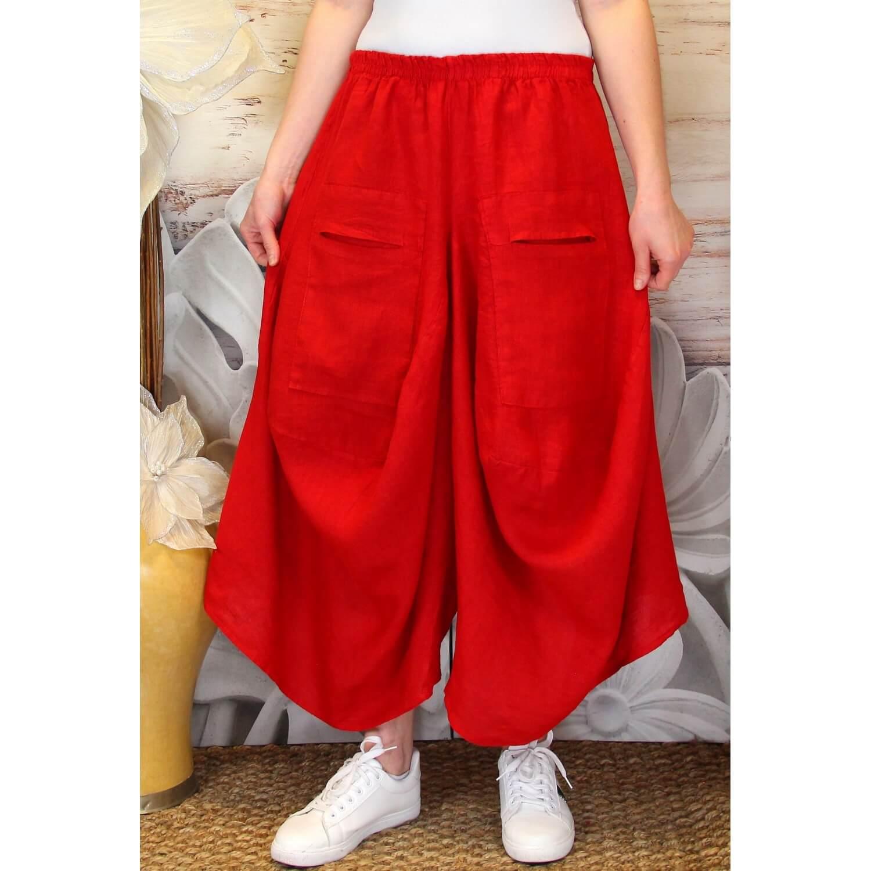 Jupe Femme Lin Grande Bohème Marco Taille Rouge Pantalon gfYb7y6v