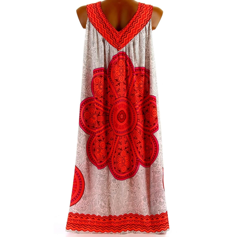 Robe été grande taille ethnique ample corail ETHNICA 0634873ee5e1