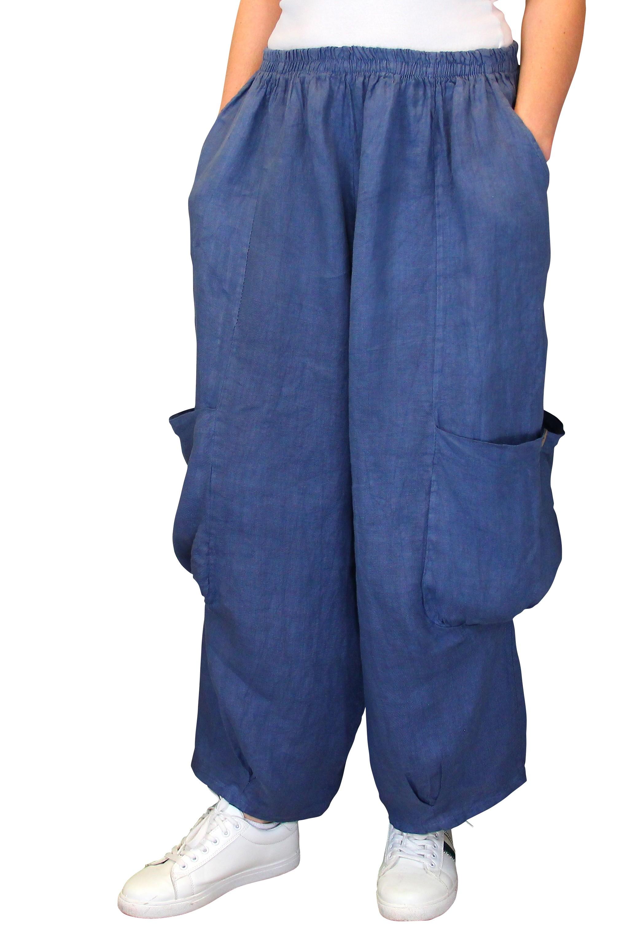 Pantalon femme lin grande taille ample bleu jean anthos - Pantalon ample femme ...