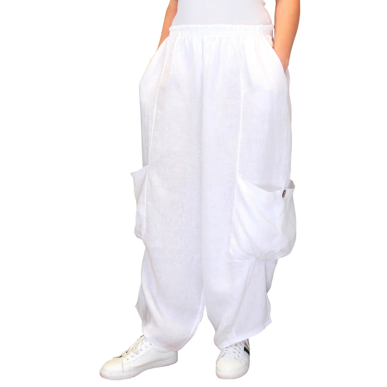 Blanc Ample Grande Pantalon Femme Lin Taille Anthos dBxoCer