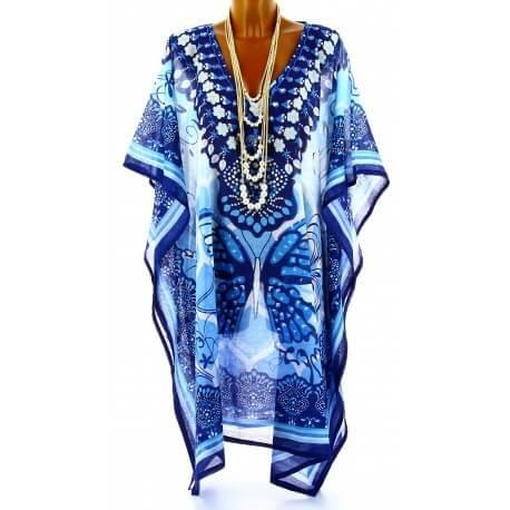 Tunique longue poncho paréo coton ethnique bleu PANDORA