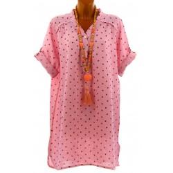Chemise femme grande taille longue lin rose TAGADA