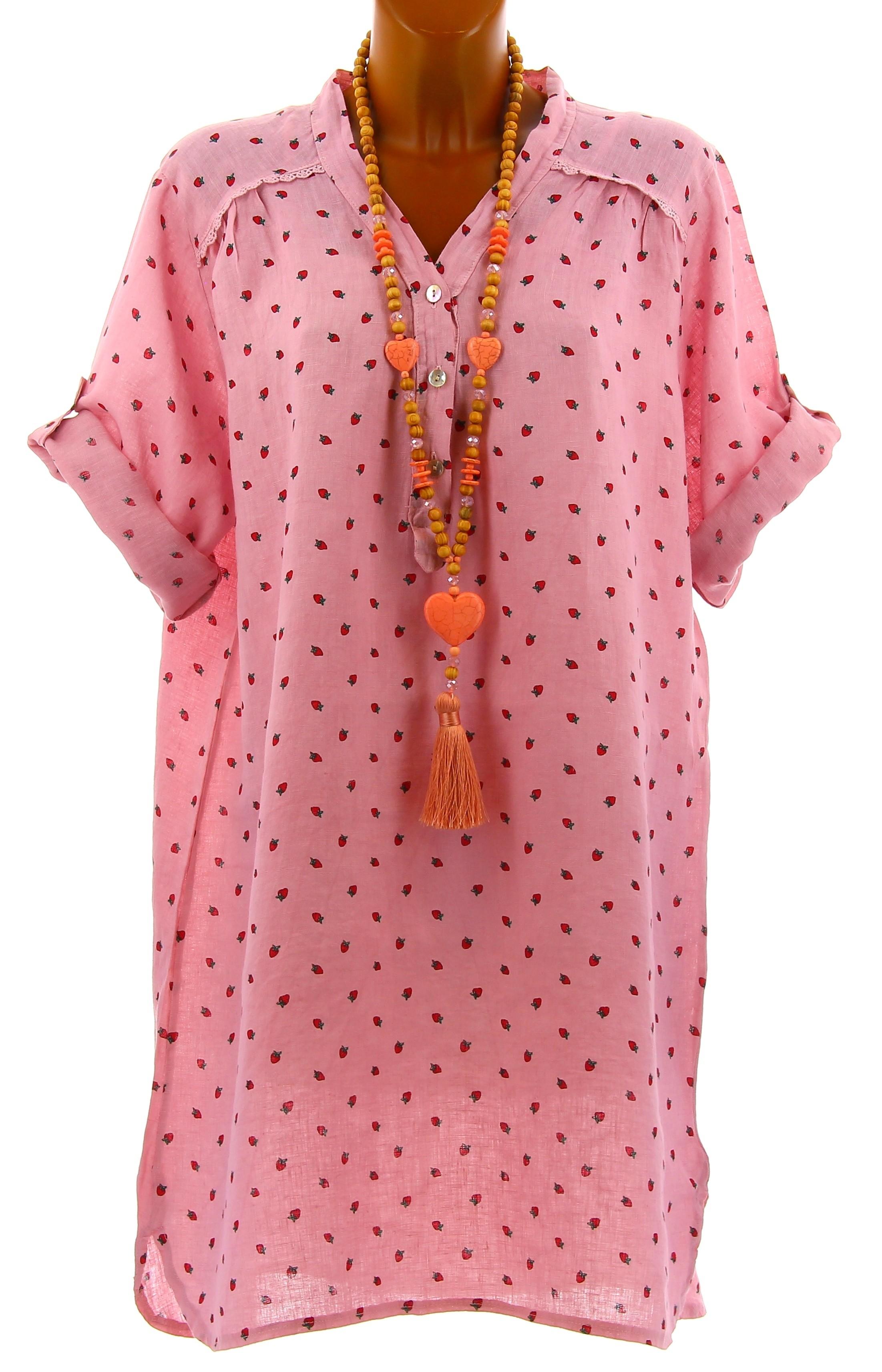 chemise femme grande taille longue lin rose tagada. Black Bedroom Furniture Sets. Home Design Ideas