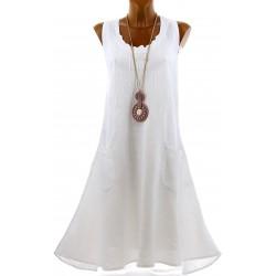 Robe femme grande taille lin bohème été blanche ZIGZAG