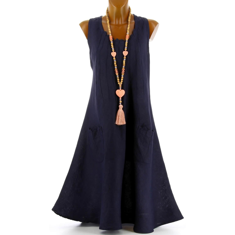 Femme Zigzag Taille Bohème Robe Bleu Lin Été Grande Marine odxerBCQW