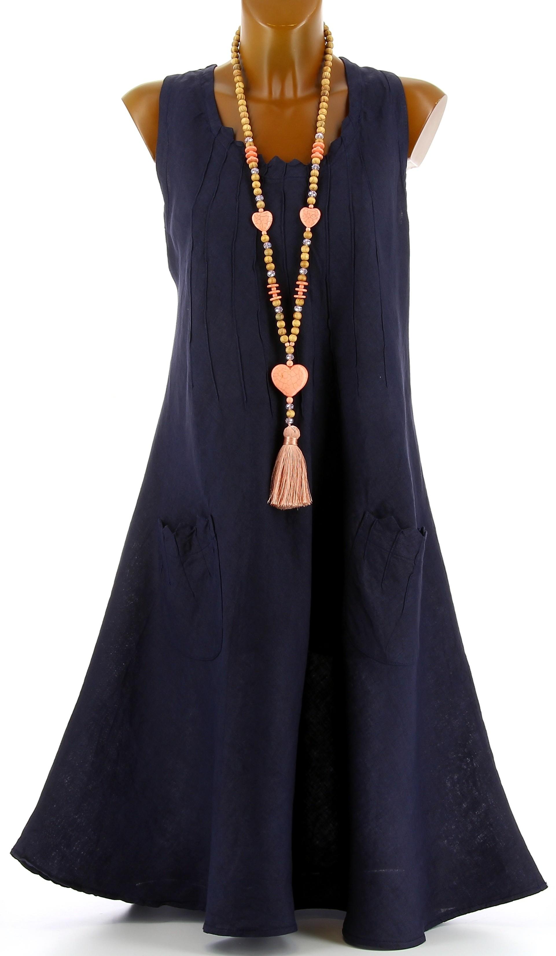 robe femme grande taille lin boh me t bleu marine zigzag. Black Bedroom Furniture Sets. Home Design Ideas