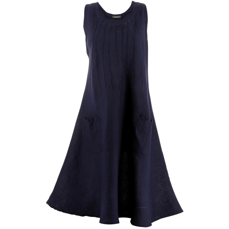 Marine Bohème Robe Zigzag Grande Lin Femme Bleu Taille Été H9DY2IWE