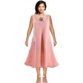 Robe femme grande taille lin bohème été rose ZIGZAG